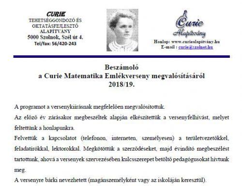 Beszámoló a Curie Matematika Emlékverseny megvalósításáról 2018/19