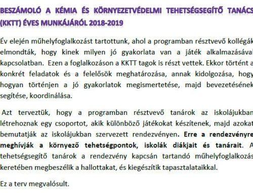 Beszámoló a KKTT 2018-2019-es tanévi munkájáról